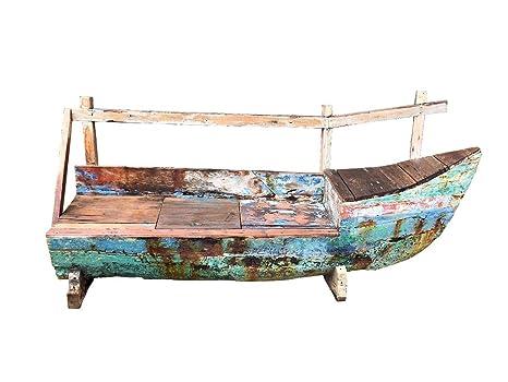 banco de 3 plazas la forma de un barco hecho de barco de pesca de madera reciclada con un pequeño compartimiento de almacenamiento, multicolor (n. ° 10781)