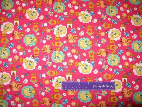 """43"""" Wide Tweety Bird Nature Pink Cotton Fabric By The Half Yard front-820464"""