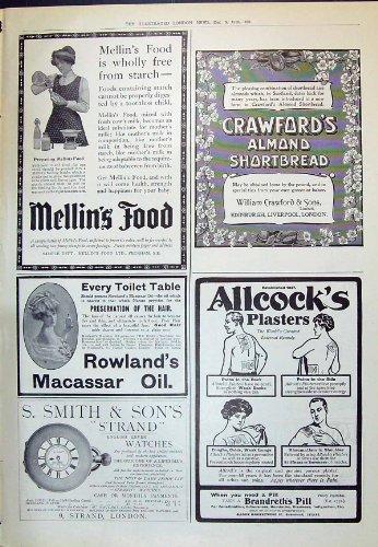 Una Stampa Antica del Biscotto al burro 1910 di Crawfords dell'Alimento di Mellin della Pubblicità Rowlan...