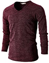 H2H Mens Fashion V-neck Long Sleeve Knitted T-shirts WINE US L/Asia XL (KMTTL029)