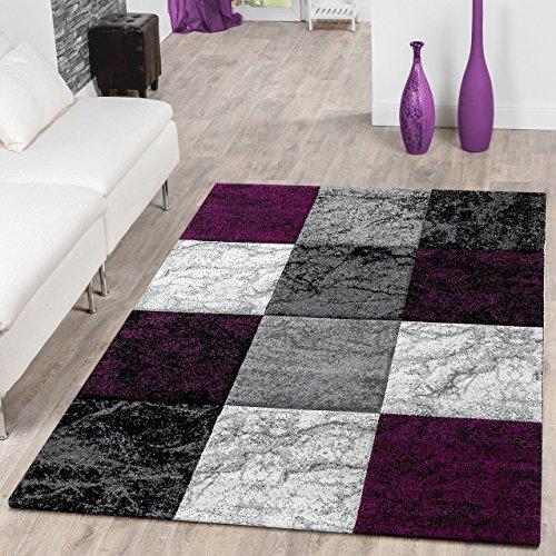 Designer teppich valencia modern mit marmor optik kariert - Wohnideen lila ...