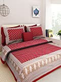 Kismat Collection Home Decor Cotton Printed Double Bedsheet With 2 Pillowcases