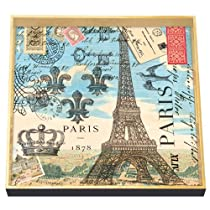 Michel Design Works 12-1/2-Inch Square Decoupage Square Wooden Tray Paris