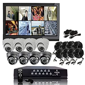Q1C1 8 CH Channel CCTV Surveillance Security DVR 4 Indoor & 4 outdoor vandalproof and weatherproof Dome High Resolution cameras IR Night Vision Camera System Kit Pre-Installed 500GB HDD (Monitor Not Included)