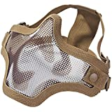 "Coxeer® Iron Face Carbon Steel ""Striker"" Metal Mesh Lower Half Mask (Two belt camouflage khaki)"