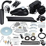 Greenyourlife 80cc 2 Stroke Motorized Petrol Bicycle Engine Complete Kit with Angle Fire Slant Head for High Performance Motor Bike-Black