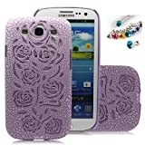 Cocoz®new Releases Romantic Taro Purple Color Roses Carved Palace Fashion Design Samsung Galaxy S3 I9300 Hard Case Cover Skin Retail Packing( Purple Colorpc. Palace Carving Craft) -H019