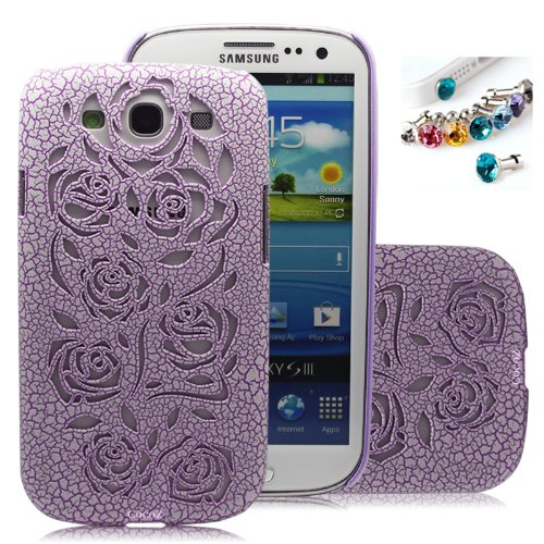 =>  Cocoz®new Releases Romantic Taro Purple Color Roses Carved Palace Fashion Design Samsung Galaxy S3 I9300 Hard Case Cover Skin Retail Packing( Purple Colorpc. Palace Carving Craft) -H019