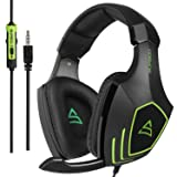 SUPSOO G820 Gaming Headset for New Xbox One, PS4 Controller,3.5mm Wired Over-Ear Noise Isolating Microphone Volume Control for Mac/PC/Laptop / PS4/Xbox one -Black (Color: G820 BLACK)