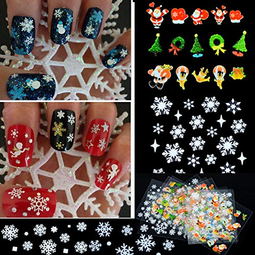 12 Sheet Christmas Snowflake Tree 3D Nail Art Sticker Decal Tips Decoration,Multi-color,One Size (Nail Decals compare prices)