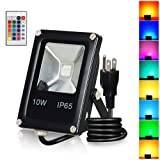 T-SUN 10W RGB Flood Lights, Outdoor Color Changing Waterproof LED Security Light, RGB Spotlight with Remote Control & US Plug for Garden, Yard, Warehouse, Sidewalk, Garage (10W) (Color: 10w)