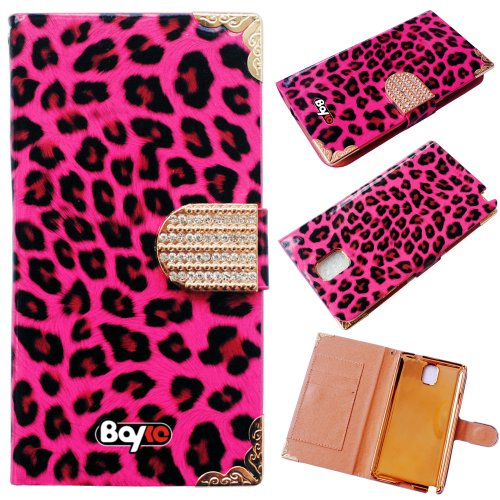 Bayke Brand / Samsung Galaxy Note 3 Note III N9000 Luxury Leopard Print PU Leather Wallet Type Magnet Design Glitter Bling Crystal Rhinestone Flip Case Cover with Credit Card Holder Slots (Hot Pink)