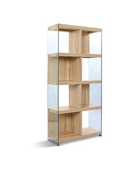 Libreria con 8 vani in vetro trasparente temperato ripiani e tramezzi finitura ROVERE. …