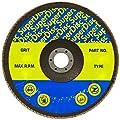 "Sundisc 11017 Type 29 Standard Density Abrasive Super Flap Disc, X Weight Poly/Cotton Blend, Zirconia, 7"" Diameter, 60 Grit, 7/8"" Arbor (Pack of 5)"
