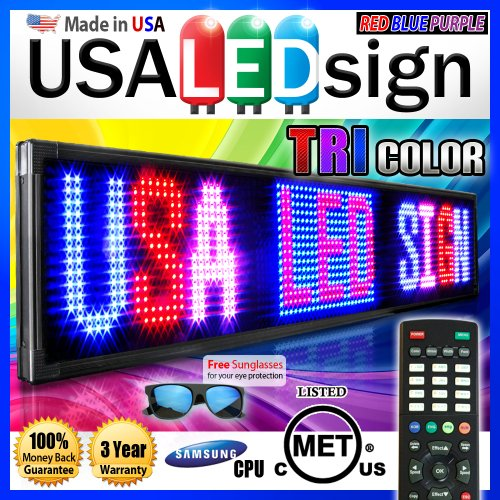 "Led Signs 69"" X 19"" Tri-Color Bright Digital Programmable Scrolling Message Display / Business Tools"