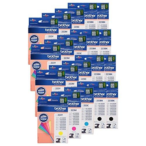 20 kompatible Druckerpatronen für Brother LC223BK, LC223C, LC223M und LC223Y der Marke YouPrint. Das Set setzt sich aus 1 LC223BK, 1 LC223C, 1 LC223M und 1 LC223Y zusammen. Einfach die Patronen aus der Verpackung nehmen, Luftloch öffnen und ab in den Drucker einsetzen.
