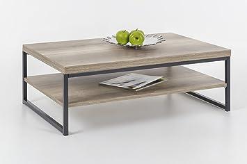 Dreams4Home Couchtisch 'Mamo' - Wohnzimmertisch, Beistelltisch, Sofatisch Holztisch,Tisch, Wohnzimmer,(B/T/H) ca. 90 x 60 x 34 cm, in wildeiche/anthrazit
