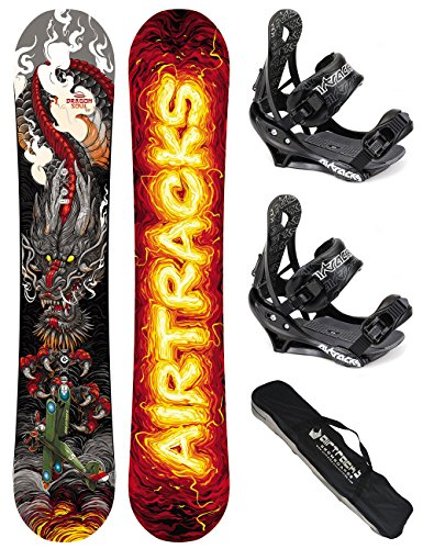AIRTRACKS-SNOWBOARD-SET-PACK-PLANCHE-DRAGON-SOUL-CARBON-WIDE-ROCKERFIXATIONS-SAVAGESB-SACNEUF