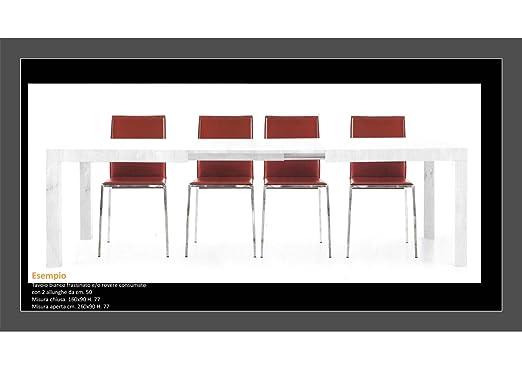 Table en chêne vieilli brossé avec 2allungamenti + Chaise assortie Tavolo Art 654 Cm 180x100x77 + 2 Allung. 50 cm