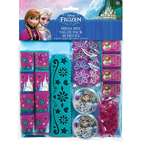 "Amscan Disney Frozen Birthday Celebration Party Mega Mix Value Pack Favors, 11 1/2"" x 9"", Multicolor"