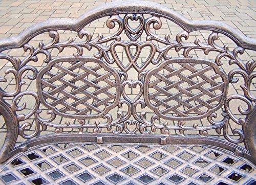 Oakland Living Mississippi Cast Aluminum Love Seat Bench, Antique Bronze 1