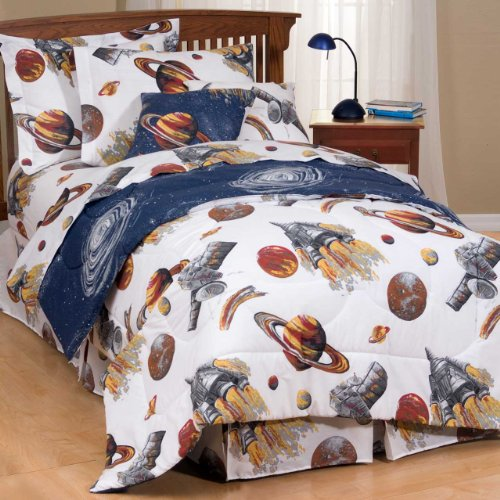 Kids Outer Space Comforter Set, Sheets - Bedding Set - Galaxy White