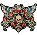 "9"" Skull American Tradition Wings Vest Biker Back Patch Motorcycle Chopper XL"
