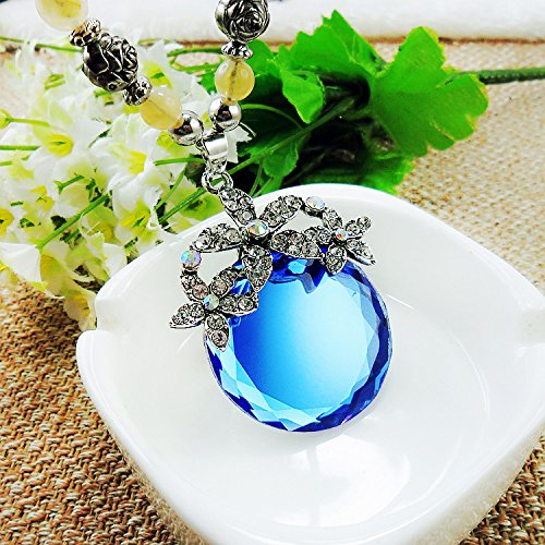 Beautiful Bead Blue Round Crystal Pendent Necklace Black Pearl Sweater Chain for Women(1Pcs)