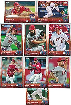 2015 Los Angeles Angels of Anaheim Topps Opening Day MLB Baseball Complete Mint 9 Card Team Set with Mike Trout Plus