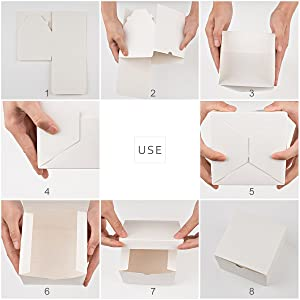 MESHA Kraft Boxes,Paper Gift Boxes with Lids for Gifts, Crafting, Cupcake Boxes,Boxes for Wrapping Gifts,Bridesmaid Proposal Boxes (White-25Pcs) (Color: White-25pcs, Tamaño: 4x4x4 Inch)