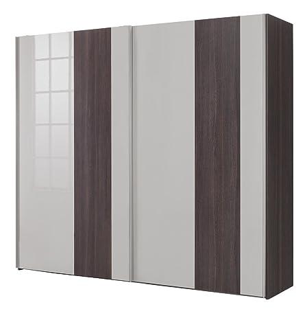 Armadio a due ante scorrevoli color rovere nobile e grigio laccato (257x237 cm)