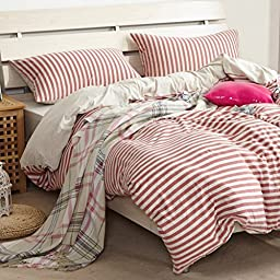 TheFit Paisley Textile Bedding for Adult U633 Red Striped Relax Duvet Cover Set 100% Knited Cotton, Twin Queen King Set, 3-4 Pieces (Queen)