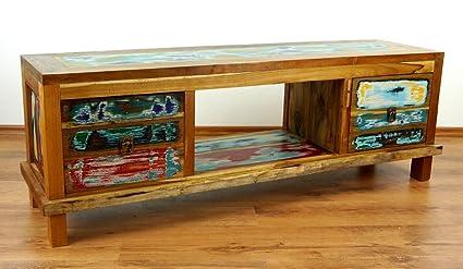 Java, Sideboard aus bunten, recyceltem Teakholz, TV-Bank, Phonoschrank, HiFi-Möbel (Handarbeit)