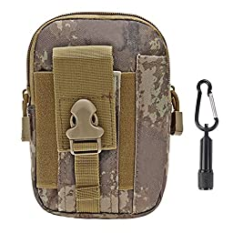 Tactical Pouch - Compact Water-resistant Molle EDC Utility Gadget Gear Tools Organizer - Bundled with Keychain Flashlight (ATACS, Tactical)