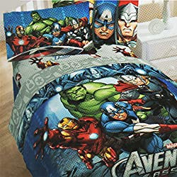 4pc Marvel Comics Avengers Twin Bedding Set Superhero Halo Comforter and Sheet Set