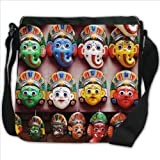 Colourful Face Masks from Kathmandu Nepal Small Denim Shoulder Bag / Handbag