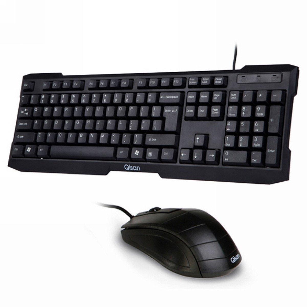 qisan tm desktop usb wired standard keyboard usb wired mouse combo set ebay. Black Bedroom Furniture Sets. Home Design Ideas