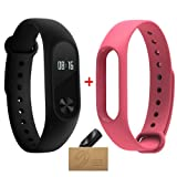 Xiaomi Mi Band 2 Smart Wristband With Pink Strap Mi band 2 Bracelet With Smart Heart Rate Touchpad OLED Screen (Color: pink)
