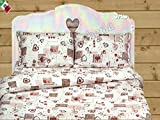 "Dolcenotte - Completo Lenzuola Matrimoniale letto 2 Piazze Country Chic ""Holly"" Cuori Tirolese"