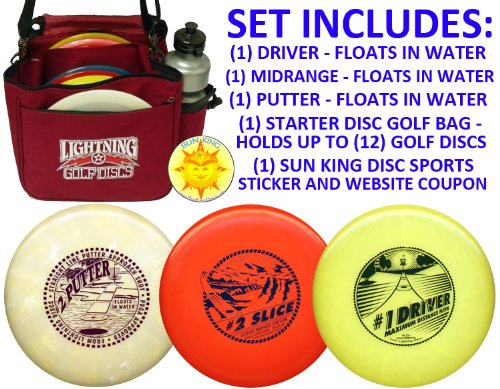 Deluxe Disc Golf Starter Set (3 Discs + Bag - Floats in Water!)