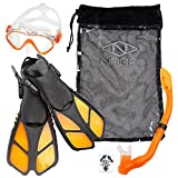 Naga Sports Kids Snorkel Set with Dry Top Snorkel, Single Lens Mask, Trek Fins, Mesh Bag - XS/XXS Orange