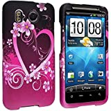 eForCity Snap-On Rubber Coated Case Compatible with HTC Inspire 4G/Desire HD - Retail Packaging - Purple Heart with Flowers