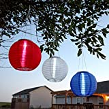 """Set of 3 Hanging Oriental 10"""" Weatherproof Rechargeable Nylon Solar Lanterns - Red, White and Blue"""