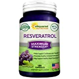 100% Pure Resveratrol - 1000mg Per Serving Max Strength (180 Capsules) Antioxidant Supplement Extract, Natural Trans-Resveratrol Pills for Heart Health & Weight Loss, Trans Resveratrol for Anti-Aging