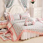 Sisbay Korean Rural Princess Vintage Bedding,Delicate Floral Print Lace Duvet Cover,Baby Girl Fancy Ruffle Wedding Bed Skirt 7pcs, Full