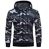 Behkiuoda Men Camouflage Hoodie Zipper Sweatshirt Tops Long Sleeve Jacket Coat Outwear Pullover Blouse (Color: Gray, Tamaño: XXX-Large)