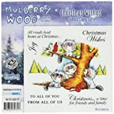 Crafter's Companion Mulberry Wood EZMount Cling Stamp Set, 4.75 by 4.75-Inch, Christmas Wishes