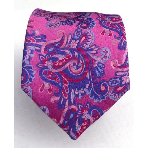 100% Silk Woven Fuschia Paisley Tie at Amazon Men's Clothing store
