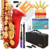 360-RD - Red/Gold Keys Eb E Flat Alto Saxophone Sax Lazarro+11 Reeds,Music Pocketbook,Case,Care Kit - 24 Colors with Silver or Gold Keys