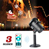 Tcamp Christmas Light Projector, LED Projector Lights 3 Switchable Patterns Indoor and Outdoor Landscape Spotlight for Children Birthday Party Holiday Wedding Home Decor (Santa Claus, Elk, Snowman) (Color: Santa Claus, Elk, Snowman)